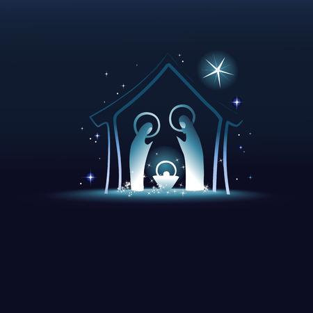 jezus: Szopka z Świętej Rodziny Ilustracja