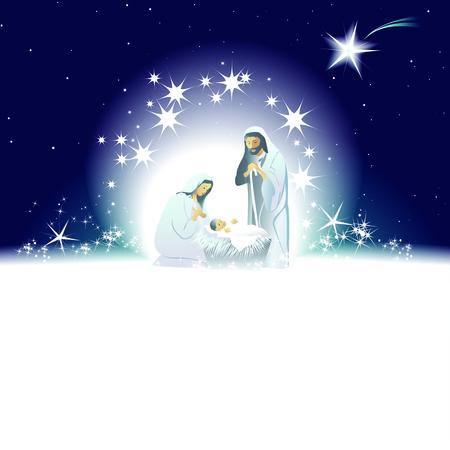 nacimiento: Escena de la Natividad con sagrada familia Vectores