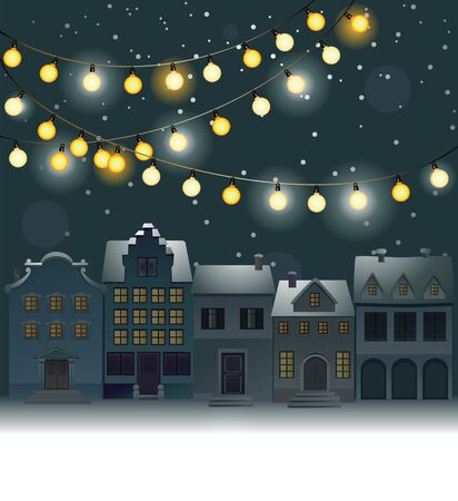christmas lights: Christmas town decorated with Christmas lamps Illustration
