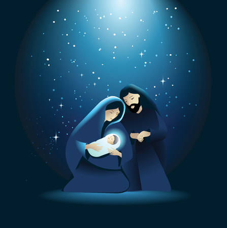 nativity: Holiday background with Holy Family