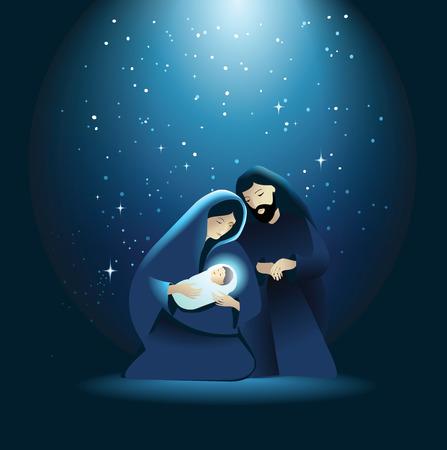 nascita di gesu: Vacanza sfondo con Sacra Famiglia Vettoriali