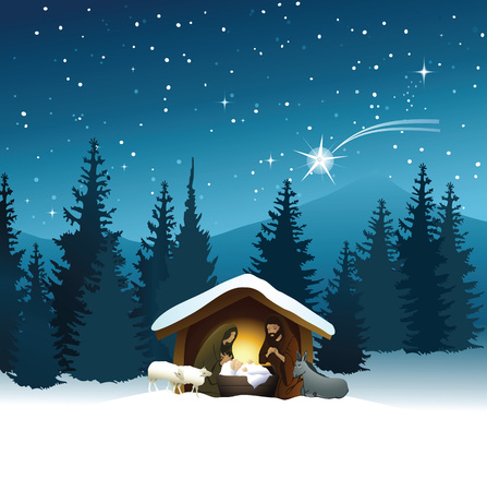 mary and jesus: Nativity scene with Holy Family Illustration