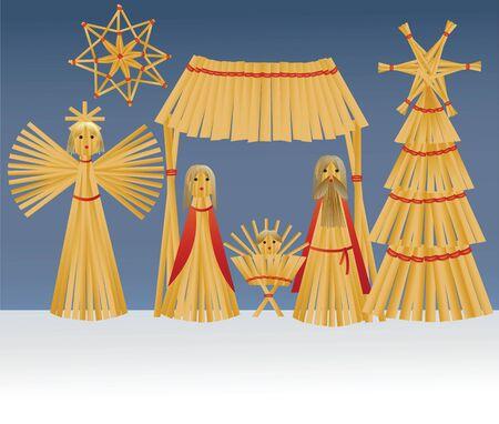 sacra famiglia: Decorazioni natalizie fatte a mano di paglia con Sacra Famiglia