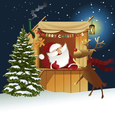 Urlaub Hintergrund mit Santa Claus in Limousin Standard-Bild - 49187775