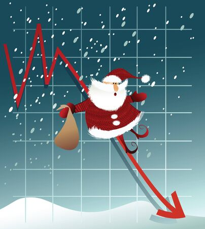 stress: Frustrated Santa Claus with financial graph