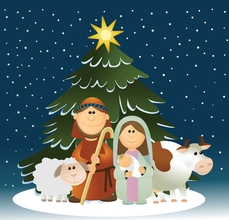 mary and jesus: Christmas nativity scene with holy family Illustration