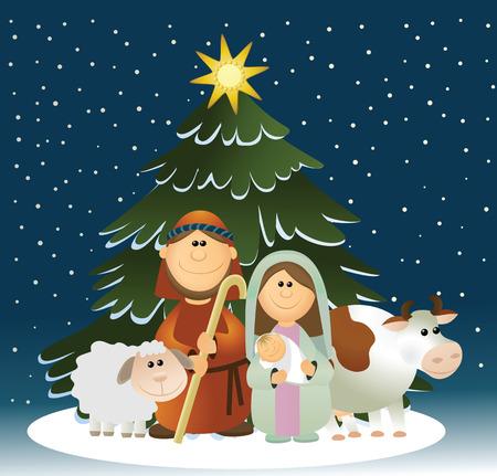 Kerstmis kerststal met heilige familie Stock Illustratie