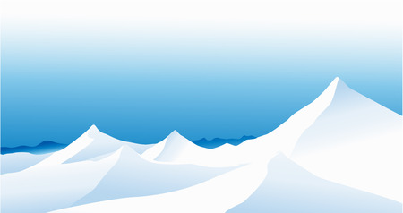 panoramic nature: Winter landscape with high mountains Illustration