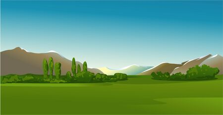 panoramic nature: mountain landscape Illustration