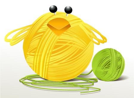 handcraft: Woolen handcraft Easter chicken Illustration