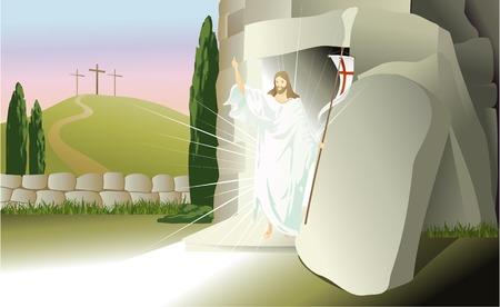 son of man: Resurrected Jesus Christ Illustration