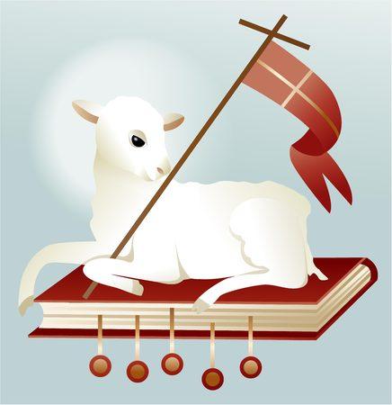 pasen schaap: Vakantie achtergrond met Pasen lam Stock Illustratie