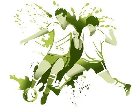 ballon foot: Résumé de fond du sport avec des joueurs de football de football