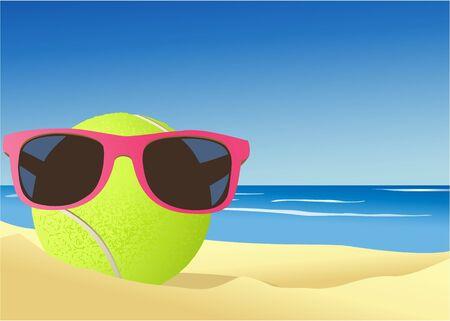Tennis ball on the beach sand