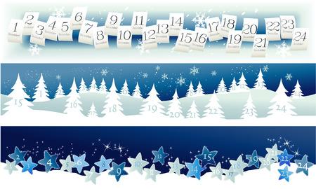 advent calendar: Three banners with Advent Calendar