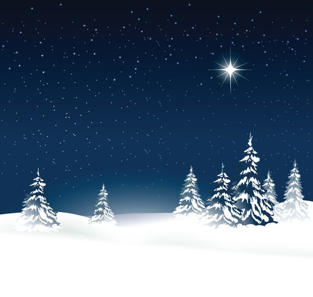 night background: Christmas background with snow-covered trees