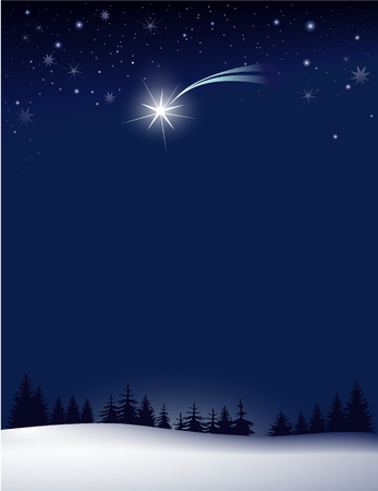 falling star: Christmas background with falling star