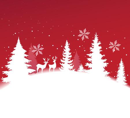 fond de Noël avec paysage d'hiver