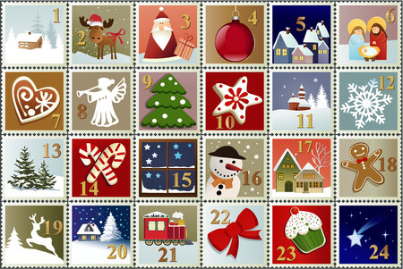 stamp collection: Advent Calendar with Christmas stamp collection