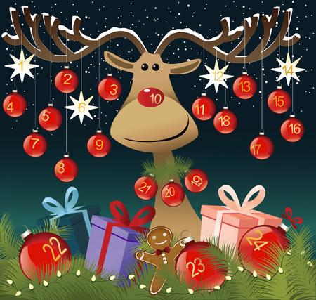 advent calendar: Funny Advent Calendar with reindeer
