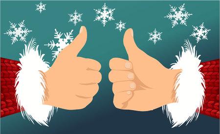 belt up: Santa Claus hand showing thumbs up Illustration