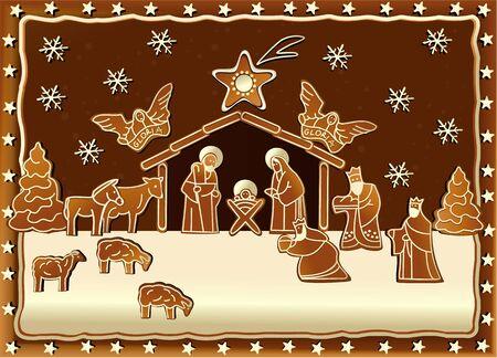 babies hands: Gingerbread Nativity scene Illustration