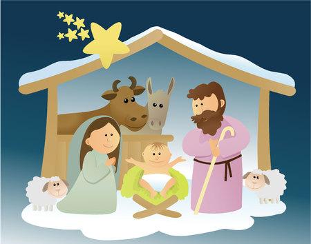 Christmas nativity scene with holy family Illustration