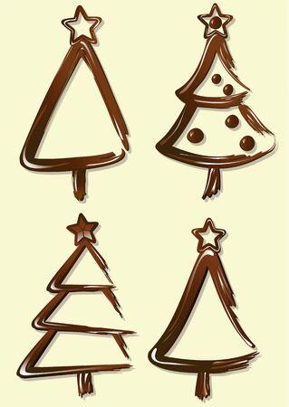 Sweet chocolate Christmas trees