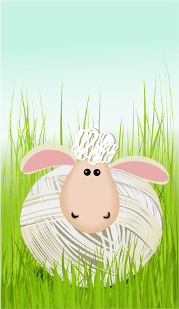 Easter background with funny sheep