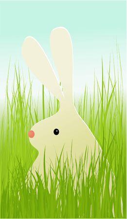 animal ear: Easter rabbit in grass Illustration