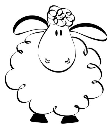 funny: Cartoon hand drawn funny sheep Illustration