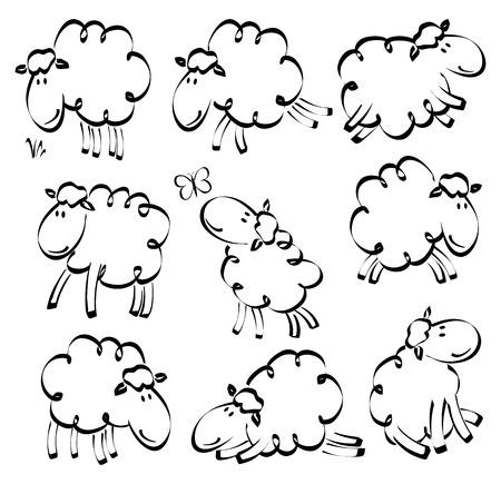 Cartoon hand drawn funny sheep Illustration