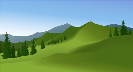 Mountain landscape with green meadow