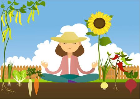 vegetable gardening: Lovely garden place Illustration