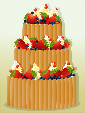 holiday party: Big birthday cake with fruits