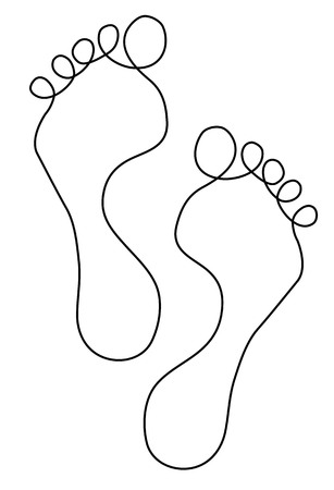 Feet one line drawing
