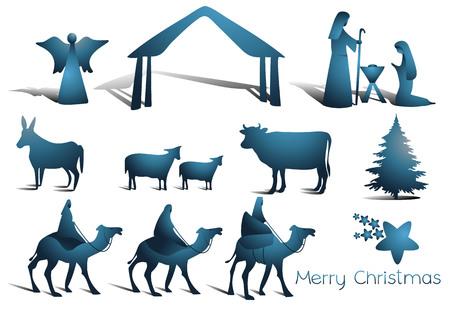 Nativity scene elements illustration.