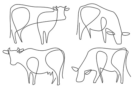 Cow one line drawing Stock Illustratie