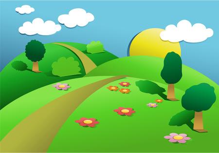 Cartoon landscape with cut out paper elements