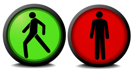 Pedestrian traffic lights with red and green lamps. Vector illustration.