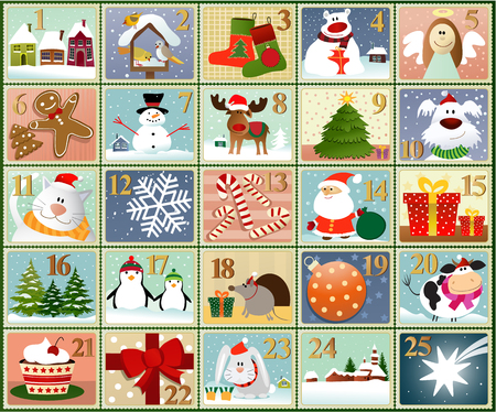 Advent calendar - set of winter drawings