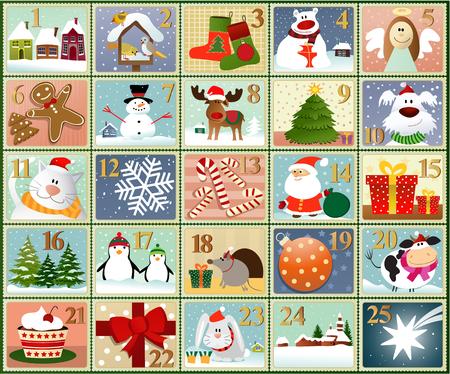 calendario de adviento - conjunto de invierno de la historieta