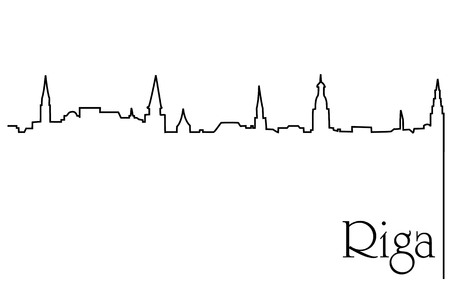 Riga city one line drawing icon.