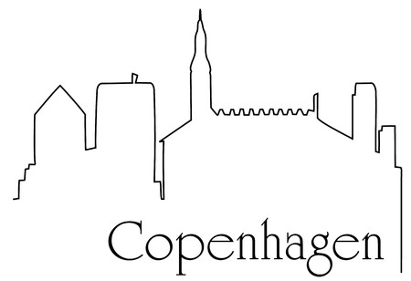 Copenhagen city one line drawing background Ilustrace