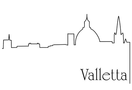 Valletta city one line drawing background