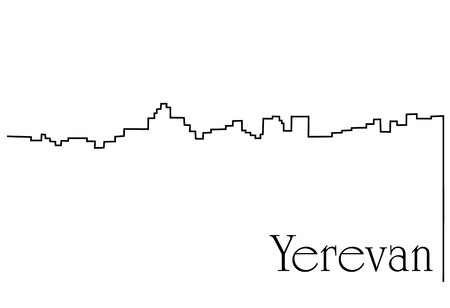 Yerevan city one line drawing background