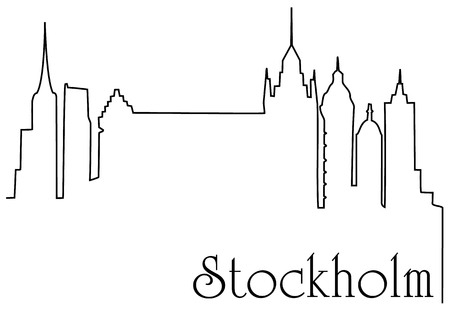 construction: Stockholm city one line drawing.