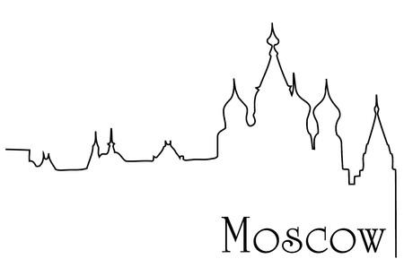 모스크바 도시 한 줄 그리기 배경 일러스트