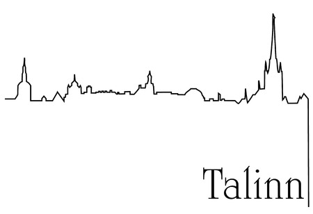 Talinn city one line drawing background
