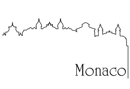Monaco city one line drawing background Illustration
